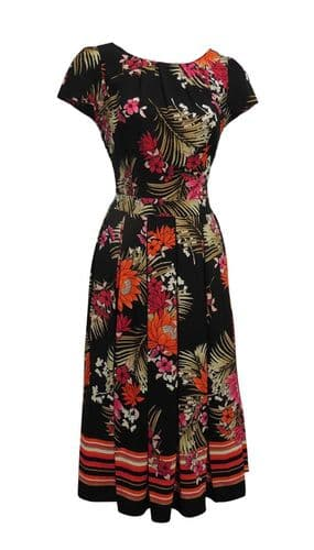 New Tropical Floral Wartime WW2 1930's 1940's Vintage style Swing Tea Dress