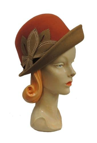 Tan and Brown Vintage 1920's 1930's 1940's Style Wool Felt Short Brim Cloche Day hat