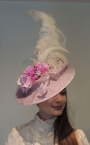 Vintage Edwardian Style Large Lilac Sinamay Feather Flower Fascinator Hat Ascot Derby Races Wedding