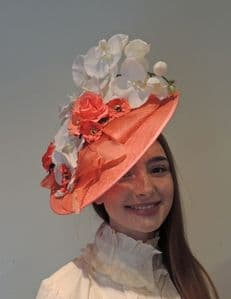 Vintage Edwardian Style Large Orange Sinamay Feather Flower Fascinator Hat Ascot Derby Races Wedding