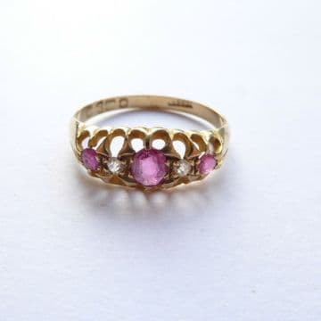 Antique 18ct Rose Gold Ruby & Diamond Ring - Chester 1912 UK N 1/2 Ruby Wedding