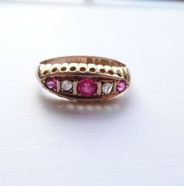 Antique 9ct Rose Gold Ruby & Diamond Ring - Chester 1907 UK M USA 6 Ruby Wedding