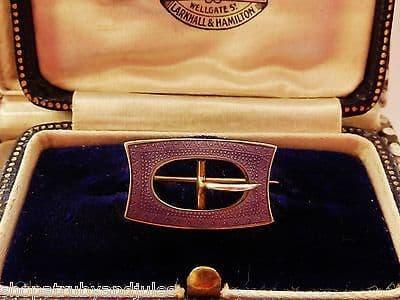 ANTIQUE EDWARDIAN SILVER GILT & PURPLE GUILLOCHE ENAMEL MINIATURE BUCKLE BROOCH