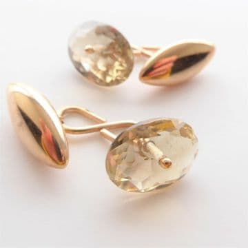 Antique Gold Cufflinks Faceted Real Citrine & 10ct Gold Engraved Includes Box