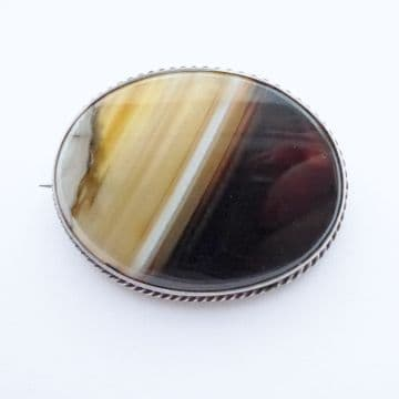Antique Victorian Banded Scottish Agate & Silver Brooch C.1890 Browns & Creams