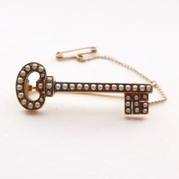 """Antique Victorian Key Brooch - 18ct Gold & Pearls C.1890s """"Key to My Heart"""" Love"""