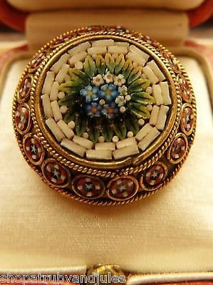 ANTIQUE VICTORIAN SWEET MICRO MOSAIC BROOCH GOOD QUALITY MOSAIC ON BASE METAL
