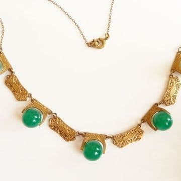 Art Deco 1930's Brass & Green Glass Necklace Hollywood China Influence