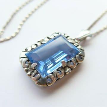Blue Aquamarine SPINEL Pendant  /  835 SILVER SKONVIRKE Necklace  Arts & Crafts