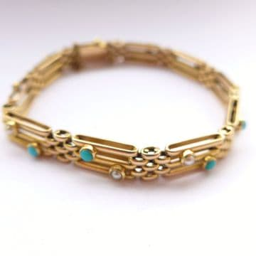 Edwardian 15ct Gold Bracelet set with Turquoise & Pearls C.1905