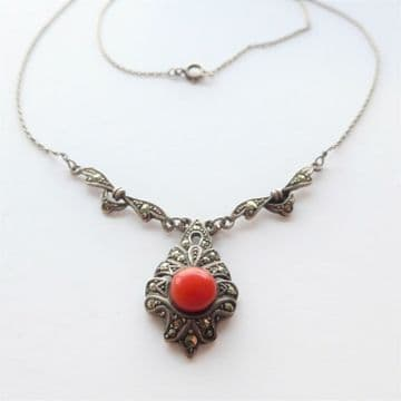 Elegant 935 Necklace Silver Red Art Deco 1930's German Marcasite