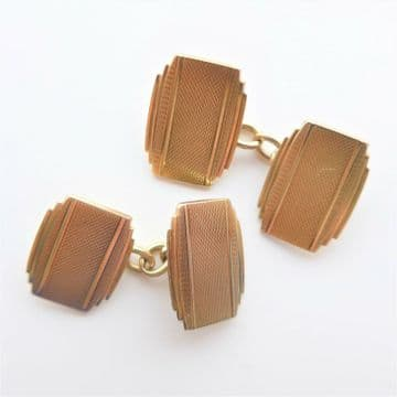 Heavy Gold Cufflinks Art Deco 9ct Deakin and Francis Wedding Groom Gift