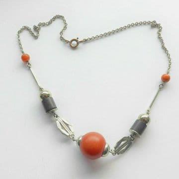 JAKOB BENGEL Art Deco Machine Age Chrome Red Black Galalith Necklace SCHMUCK
