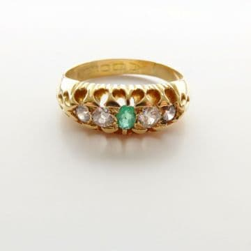 Old Cut Diamond and Emerald Ring 18ct Gold Victorian Chester Hallmark