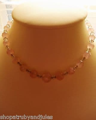 Quality Antique Art Deco Cut Rose Quartz & Crystal Necklace 9ct Gold Jump Ring