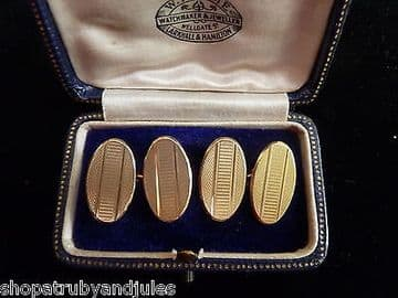 Quality Art Deco Style 1950's 9ct Solid Gold Cufflinks Wedding