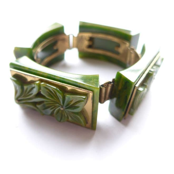 Rare French Art Deco Spinach Green Bakelite Hinged Bracelet Heavy 76g