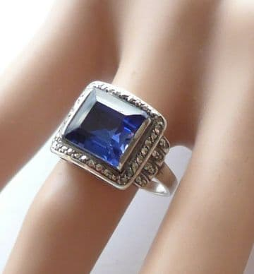 RARE THEODORE FAHRNER Art Deco Sapphire Ring 1920's TH Mark STUNNING CORNFLOWER