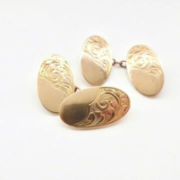 Rose Gold Cufflinks 9ct Hallmarked 1913 Edwardian Hand Engraved Wedding Groom