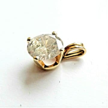 SOLD 0.90 CARAT DIAMOND SOLITAIRE Pendant - NATURAL EARTH DIAMOND BLING!!