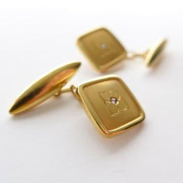 SOLD 18ct Gold Diamond Cufflinks Antique Circa 1900 French Wedding Groom Gift