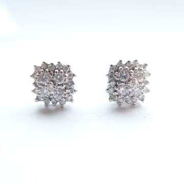 SOLD 18ct White Gold & Diamond Square Cluster Earrings - Approx 1 CT Diamond Weight