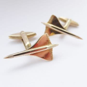 SOLD 1970 Solid 9ct Gold Concorde Cufflinks 001 Transatlantic Flight - Pilot Plane