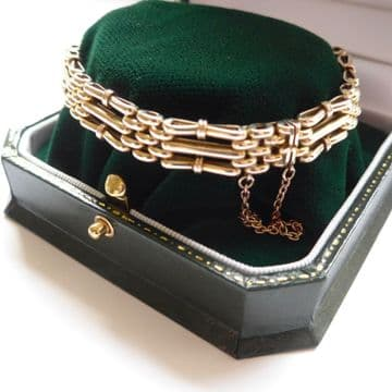 SOLD 9CT 10CT Gold Gate Bracelet Antique Edwardian - Beautiful Quality - Boxed C.1910