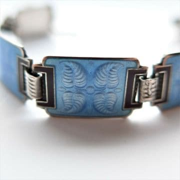 SOLD Aksel Holmsen Bracelet Art Deco Sterling Silver Blue Enamel NORWEGIAN JEWELLERY