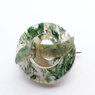 SOLD AMAZING Victorian Moss Agate Specimen Brooch in Excellent Condition C.1880