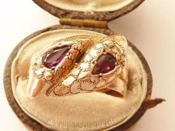 SOLD ANTIQUE 9CT ROSE GOLD DOUBLE HEADED SNAKE RING SET AMETHYSTS BIRMINGHAM 1915 UK SIZE  T