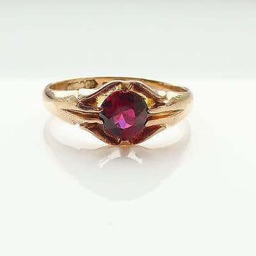 SOLD ANTIQUE 9CT ROSE GOLD GENTS RING SET WITH OLD CUT ALMANDINE GARNET HALLMARK BIRMINGHAM 1913