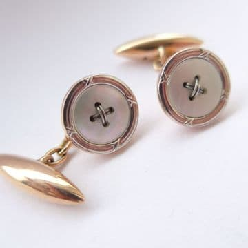 SOLD Antique 9ct Rose & White Gold & Mother of Pearl Edwardian Cufflinks Boxed Groom