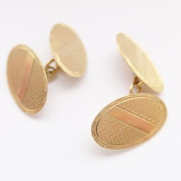 SOLD Antique 9ct Solid Gold Art Deco Cufflinks & Box Chester 1942 75th Birthday Gift