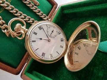SOLD ANTIQUE 9CT SOLID GOLD POCKET WATCH FULL HUNTER SWISS & 9CT SOLID GOLD ALBERT