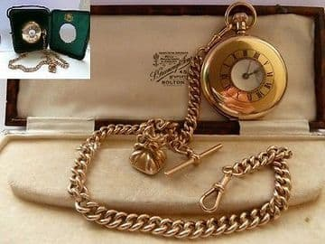SOLD ANTIQUE 9CT SOLID GOLD POCKET WATCH HALF HUNTER & SOLID 9CT GOLD ALBERT & FOB