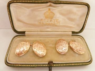 SOLD ANTIQUE  9CT SOLID ROSE GOLD CUFFLINKS BIRMINGHAM 1897  - WEDDING GROOM