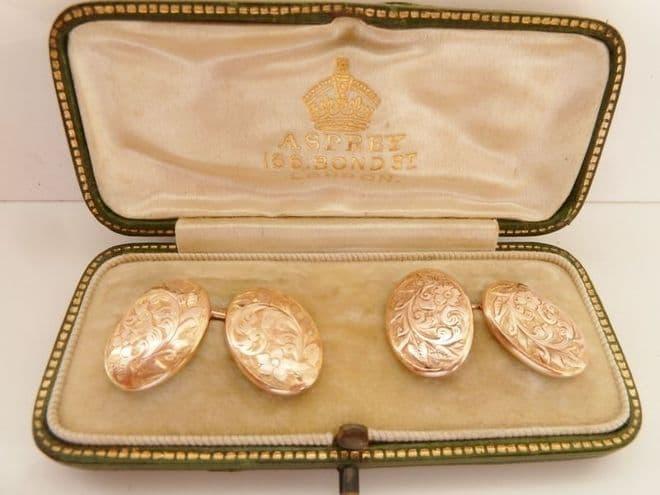 SOLD ANTIQUE  9CT SOLID ROSE GOLD CUFFLINKS BIRMINGHAM 1897  - WEDDING GROOM