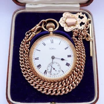 SOLD ANTIQUE 9CT SOLID ROSE GOLD POCKET WATCH 9CT SOLID GOLD DOUBLE ALBERT, FOB & BOX