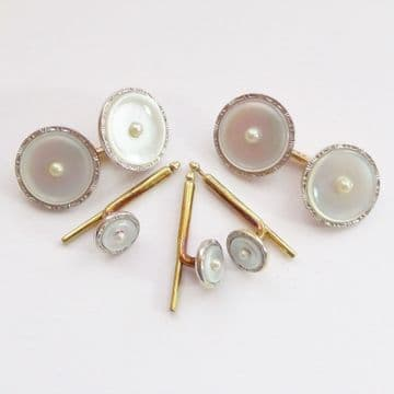 SOLD Antique Art Deco 14ct White & Yellow Gold, Platinum & Pearl MOP Cufflinks Dress Set Boxed