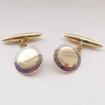 SOLD Antique Art Deco Gold Cufflinks 9ct Gold & Enamel - Wedding Cufflinks - Boxed