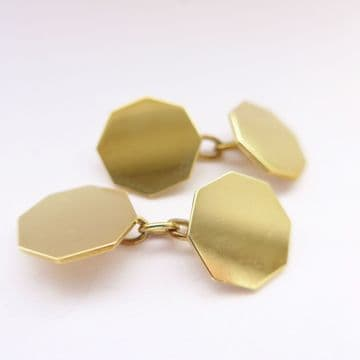 SOLD Antique Art Deco Gold Cufflinks 9ct London 1937 Plain Hexagonal 80th Birthday