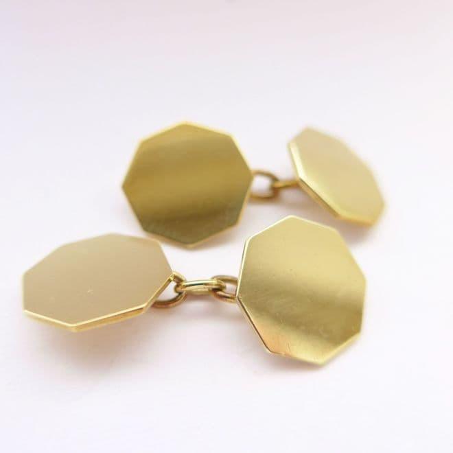 SOLD Antique Art Deco Gold Cufflinks 9ct London 1937 Plain Hexagonal 80th Birthday