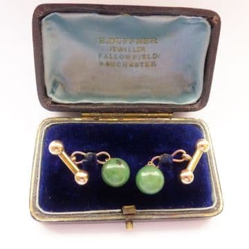 SOLD Antique Art Deco Jade and Gold Cufflinks in Antique Leather Silk & Velvet Case