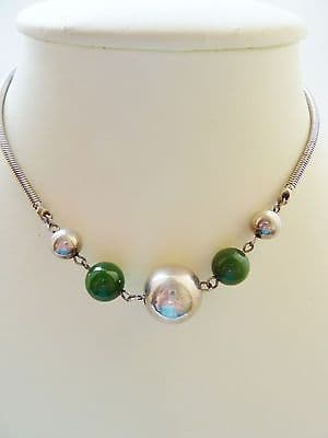 SOLD Antique Art Deco Period Silver 835 & Green Chalcedony German Necklace Stamped