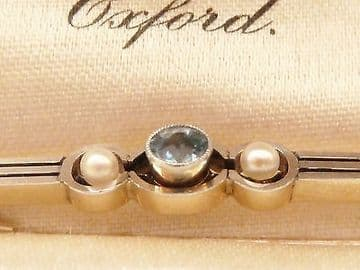 SOLD Antique Art Deco Platinum Topped 18ct Gold Brooch Set with Aquamarine & Pearls