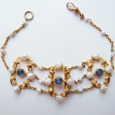 SOLD Antique Art Nouveau Belle Epoque 14k Sapphire & Natural Pearl Bracelet By Ciner & Seeleman