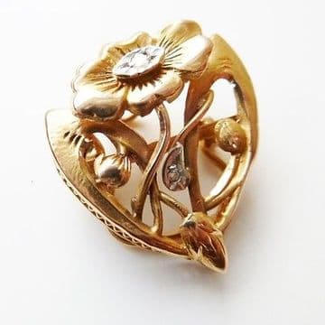 SOLD ANTIQUE ART NOUVEAU FRENCH 18CT GOLD & DIAMOND FLOWER SCARF CLIP PENDANT  C.1900