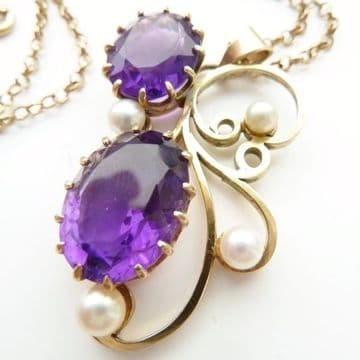 SOLD ANTIQUE ART NOUVEAU LARGE HEAVY QUALITY 9CT GOLD  PENDANT WITH AMETHYSTS PEARLS