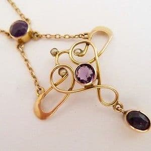 SOLD ANTIQUE ART NOUVEAU PENDANT NECKLACE 9CT GOLD AMETHYST & PEARLS C.1900